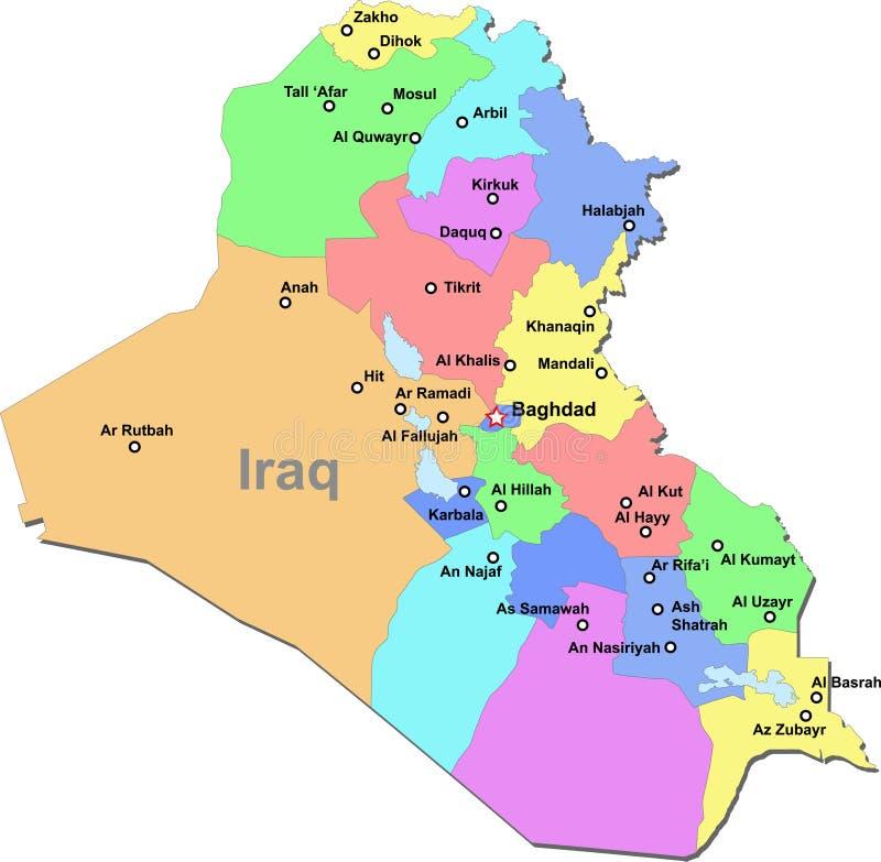 De kaart van Irak stock illustratie