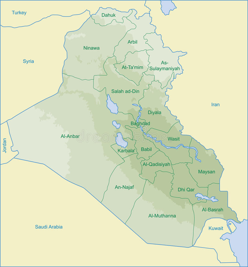De kaart van Irak vector illustratie