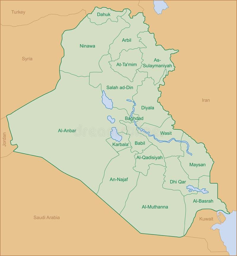 De kaart van Irak stock fotografie