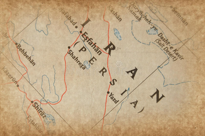 De kaart van Iran stock afbeeldingen
