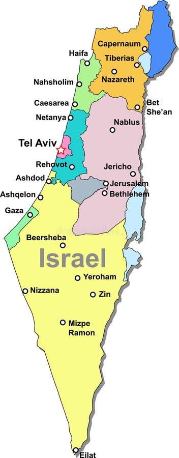 De kaart van Israël stock illustratie