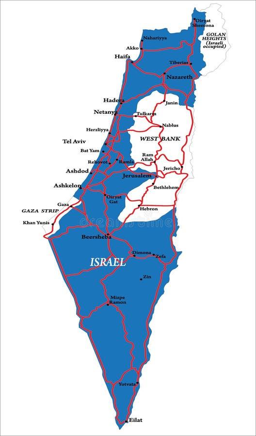 De kaart van Israël die op wit wordt geïsoleerdp vector illustratie