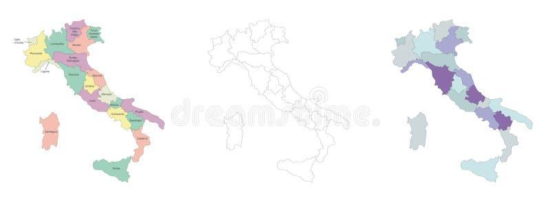 De kaart van Italië royalty-vrije illustratie