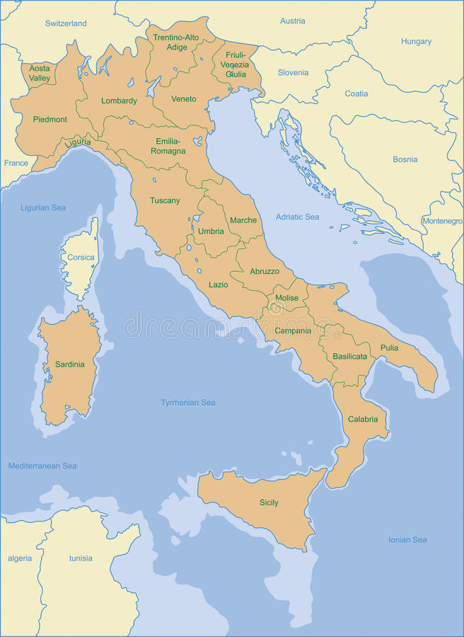 De kaart van Italië stock fotografie