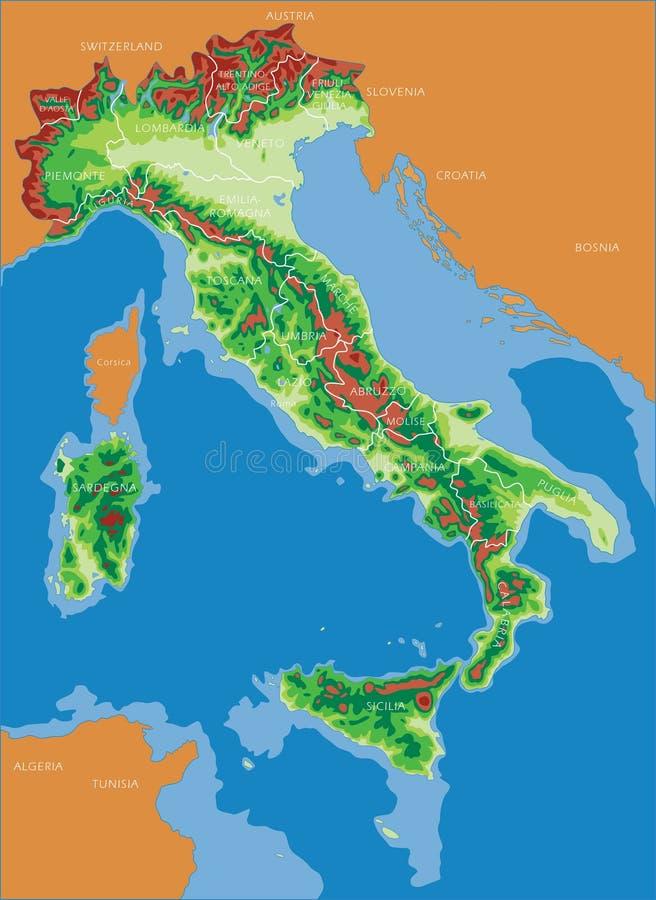 De kaart van Italië - het Italiaans royalty-vrije stock afbeeldingen