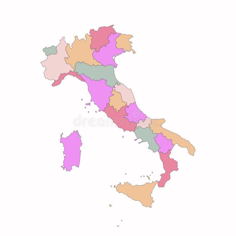 De kaart van Italië met gebieden stock illustratie