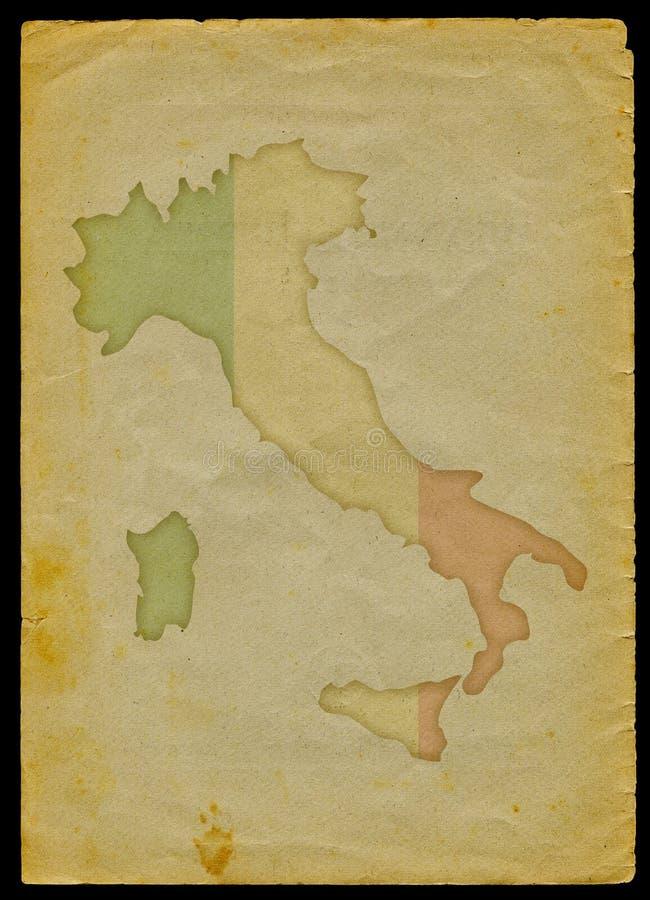 De kaart van Italië op oud document stock illustratie