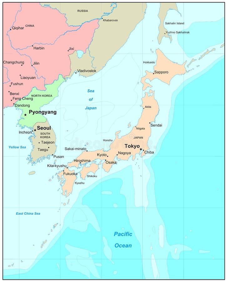 De kaart van Japan stock illustratie