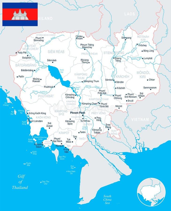 De Kaart van Kambodja - Gedetailleerde Vectorillustratie vector illustratie