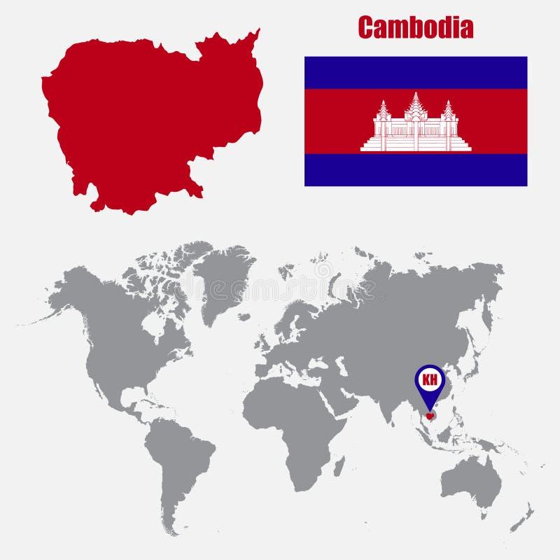 De kaart van Kambodja op een wereldkaart met vlag en kaartwijzer Vector illustratie royalty-vrije illustratie