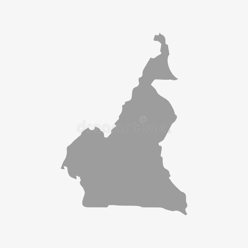 De kaart van Kameroen in grijs op een witte achtergrond royalty-vrije illustratie