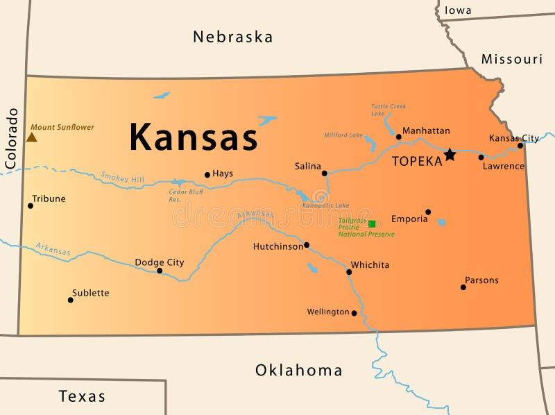 De kaart van Kansas royalty-vrije illustratie