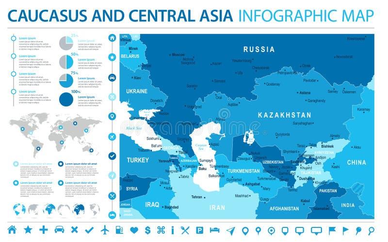 De Kaart van de Kaukasus en van Centraal-Azië - Informatie Grafische Vectorillustratie royalty-vrije illustratie