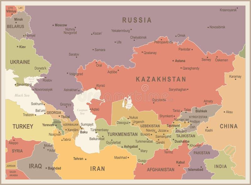 De Kaart van de Kaukasus en van Centraal-Azië - Uitstekende Vectorillustratie vector illustratie