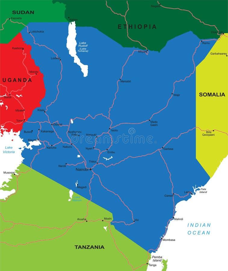 De kaart van Kenia royalty-vrije illustratie