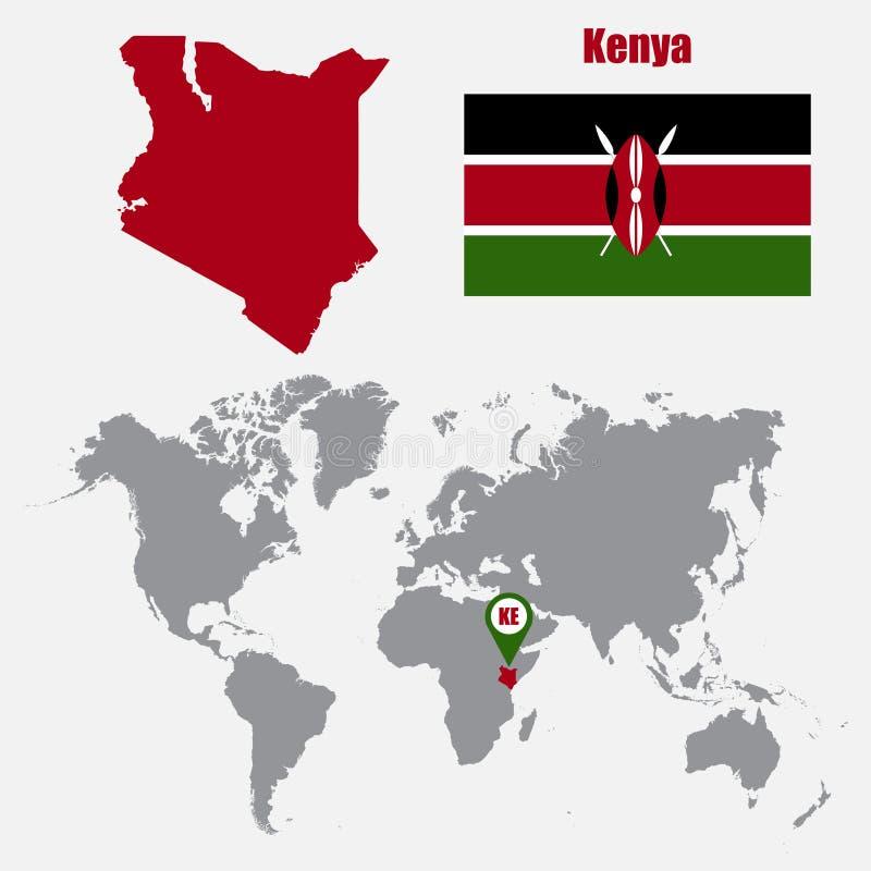 De kaart van Kenia op een wereldkaart met vlag en kaartwijzer Vector illustratie royalty-vrije illustratie