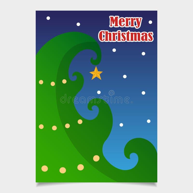 De kaart van de kerstboom De gelukkige Vector van de Vakantiekaart Kerstboomaffiche De mooie achtergrond van Kerstmis royalty-vrije stock afbeeldingen