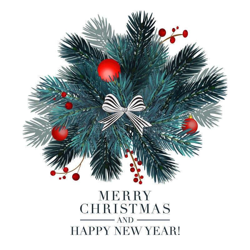 De kaart van de Kerstmis 2019 groet met sparbal en rode bessen Vrolijke Kerstmis en de gelukkige nieuwe post van de jaartypografi stock illustratie