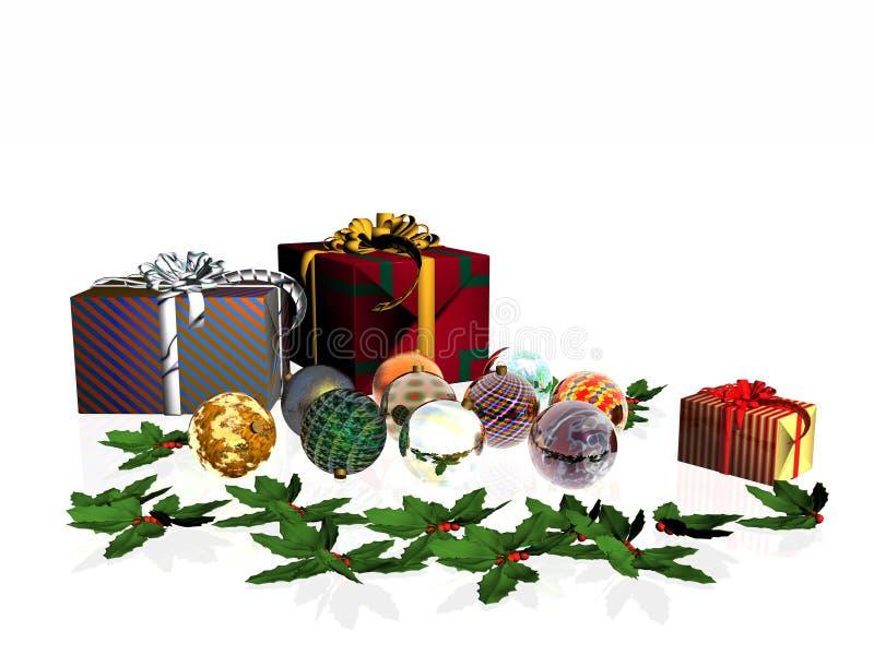 De Kaart van Kerstmis, stelt en ballen voor. royalty-vrije illustratie