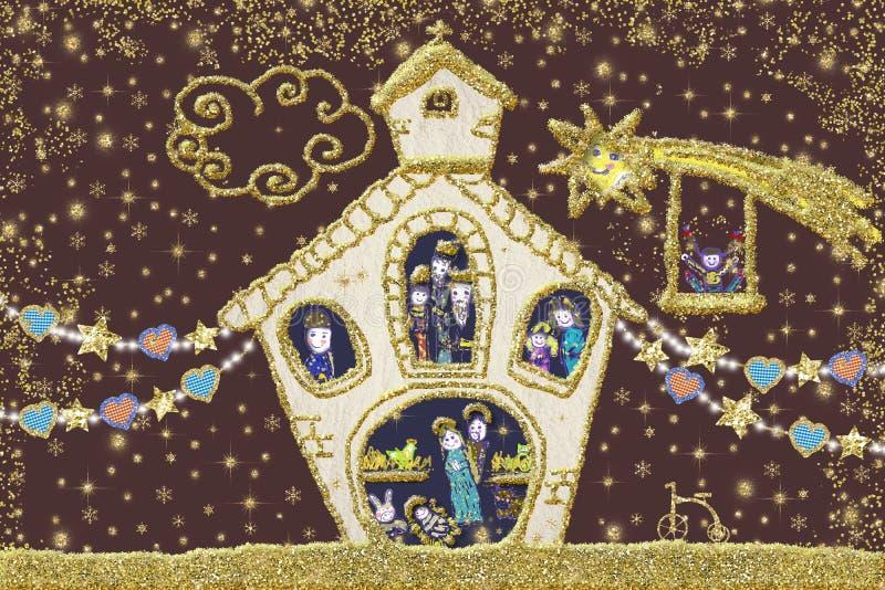 De kaart van de Kerstmisgroet van de geboorte van Christusscène vector illustratie