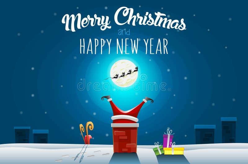 De kaart van de Kerstmisgroet - de Kerstman plakte in de Schoorsteen op dak bij de winternacht royalty-vrije illustratie