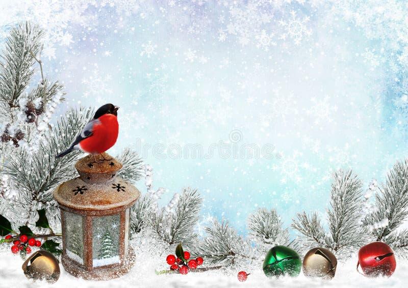 De kaart van de Kerstmisgroet met Ñ  hristmasklokken, goudvink, lantaarn, pijnboom vertakt zich en sneeuw royalty-vrije illustratie