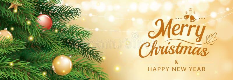 De kaart van de Kerstmisgroet met boom en gouden bac van onduidelijk beeld bokeh lichten vector illustratie