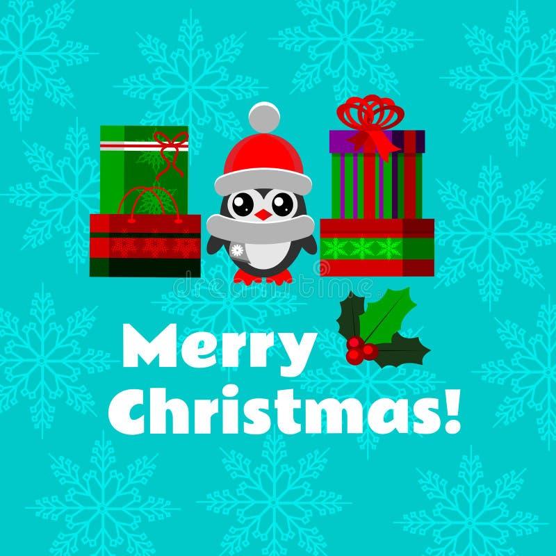 De kaart van de Kerstmisgroet met een een pinguïn, een maretak, doos van Kerstmisgiften en een zak royalty-vrije illustratie