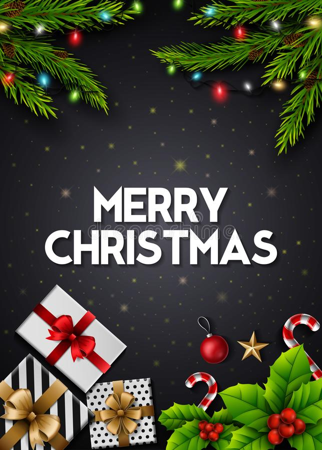 De kaart van de Kerstmisgroet met giftdozen en spartakken op zwarte achtergrond vector illustratie
