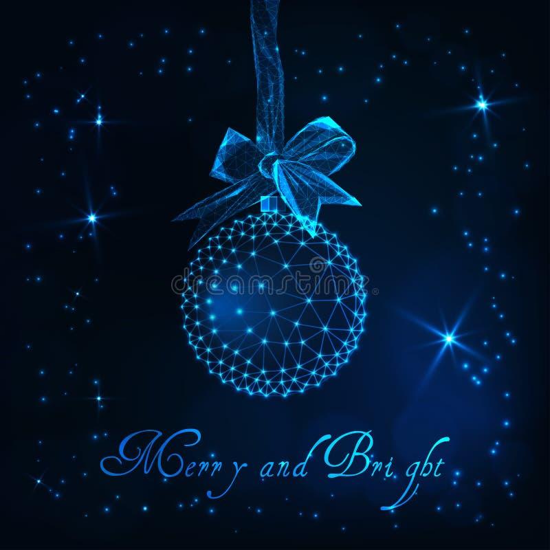 De kaart van de Kerstmisgroet met gloed lage polybal met Vrolijk en Heldere lintboog, sterren en tekst stock illustratie