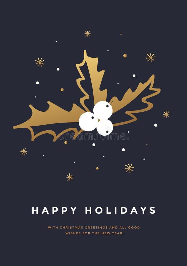 De kaart van de Kerstmisgroet met hand getrokken hulstbes en gouden sneeuwvlokken royalty-vrije illustratie