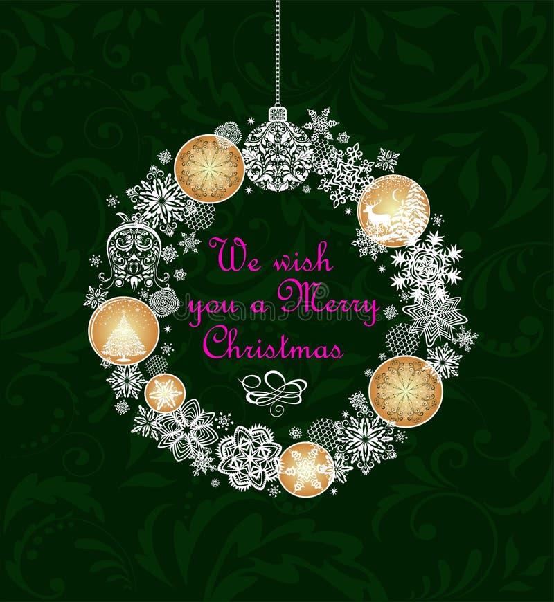 De kaart van de Kerstmisgroet met de hangende kroon van ambachtkerstmis met gouden ballen en het document verwijderen sneeuwvlokk vector illustratie