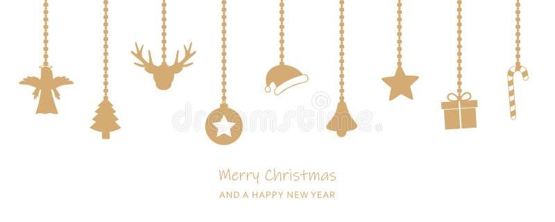 De kaart van de Kerstmisgroet met het hangen van decoratie op witte backgro royalty-vrije illustratie