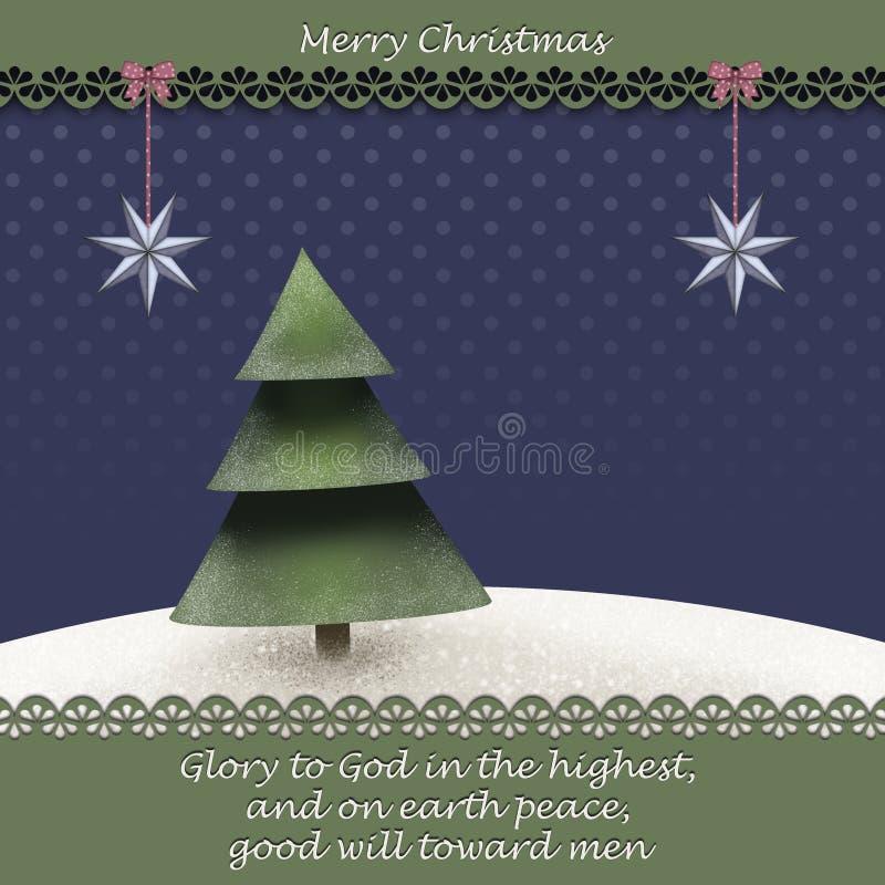 De kaart van de Kerstmisgroet met Kerstmisboom i winterlandscape en een bijbelcitaat van Luke 2 14 stock illustratie
