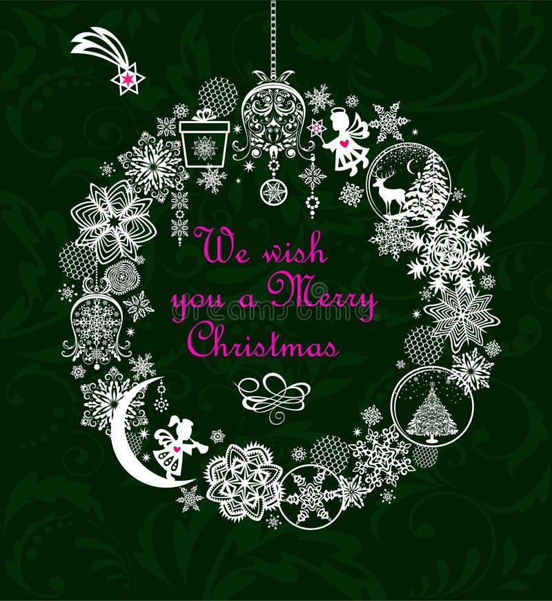 De kaart van de Kerstmisgroet met Kerstmisster en de ambacht hangende kroon met document verwijderen ballen met rendier, Kerstmis royalty-vrije illustratie