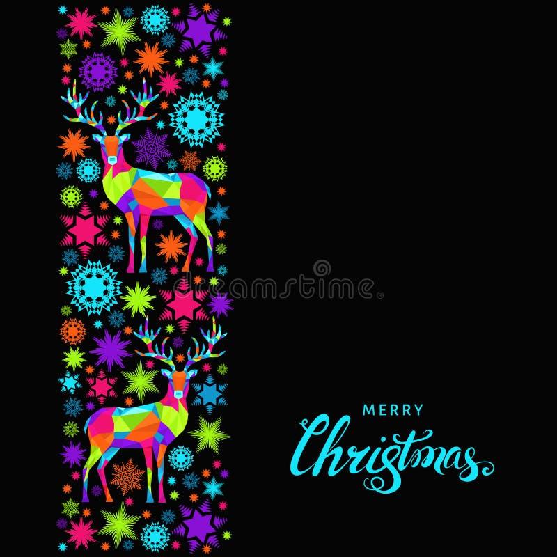 De kaart van de Kerstmisgroet met rendier en het van letters voorzien vector illustratie