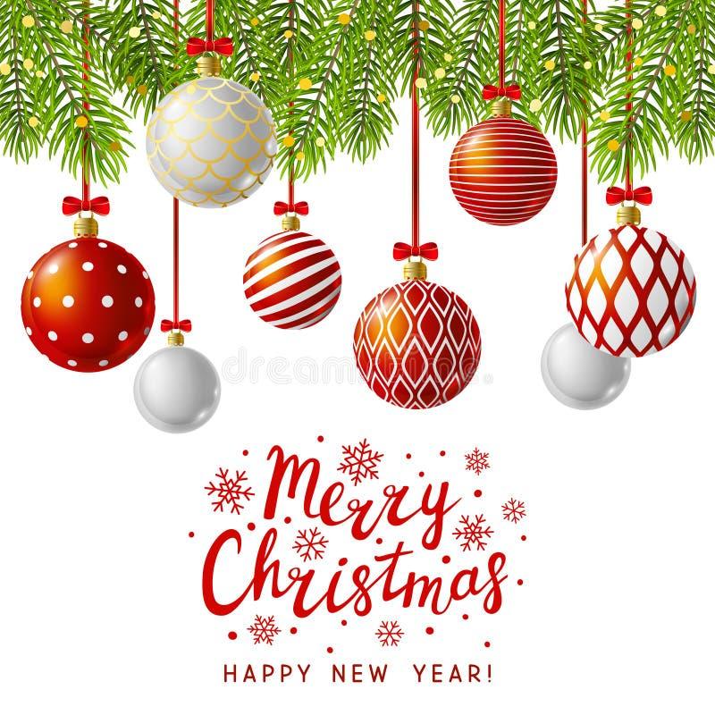 De kaart van de Kerstmisgroet met rode Kerstmisballen royalty-vrije illustratie