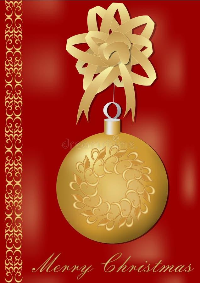 De kaart van de Kerstmisgroet met schitterende gouden Kerstmisbal en het gouden lint, uitstekende patronen op grens, titelen Vrol royalty-vrije illustratie