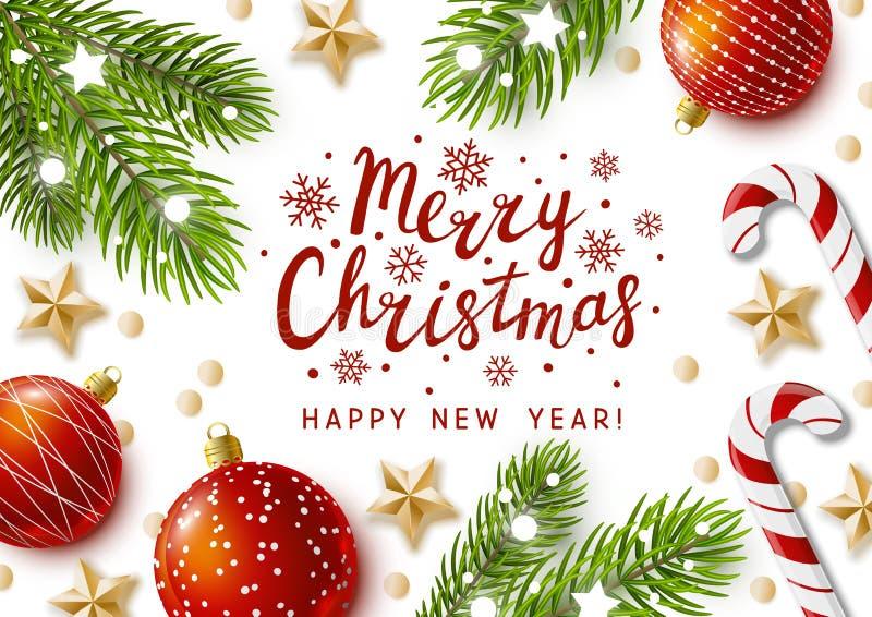 De kaart van de Kerstmisgroet met vakantiedecor vector illustratie