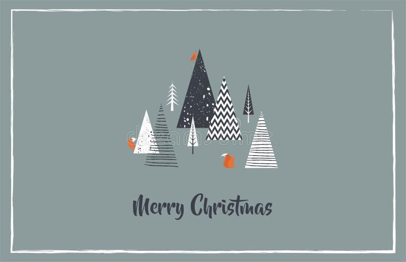 De kaart van de Kerstmisgroet met de winter bos en bosdieren Abstracte vector vector illustratie