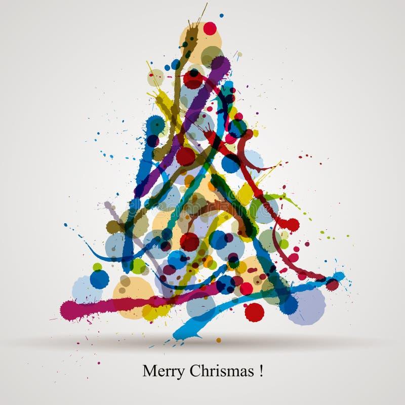 De kaart van Kerstmisgroeten met kleurrijke inkt ploetert stock illustratie