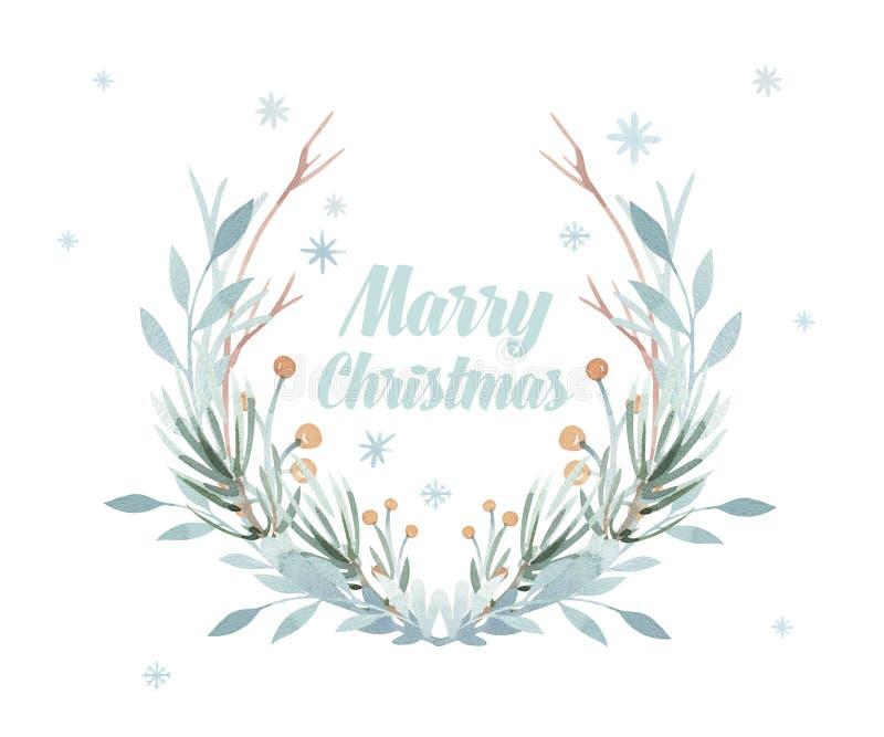 De kaart van de Kerstmiskroon De winterwaterverf het schilderen illustratie Bessenkroon voor Kerstmisgroet De vakantie van het ni vector illustratie