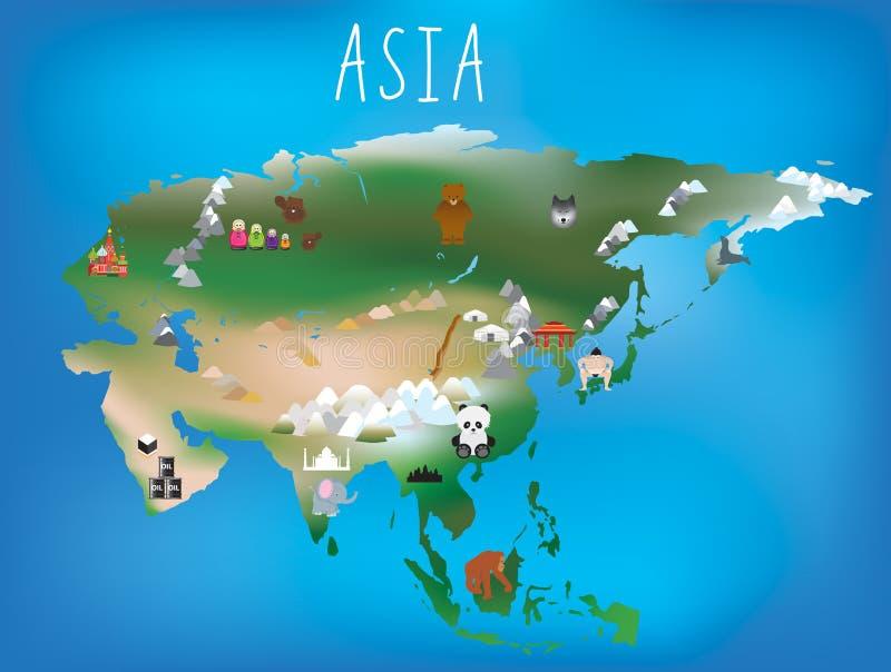 De kaart van kinderen, Azië en Aziatisch continent met oriëntatiepunten en anima vector illustratie