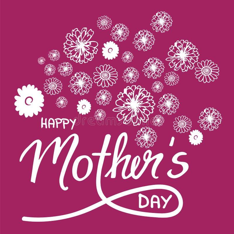 De kaart van de krabbelgroet op moeder` s dag, met bloemen en handwritt royalty-vrije illustratie
