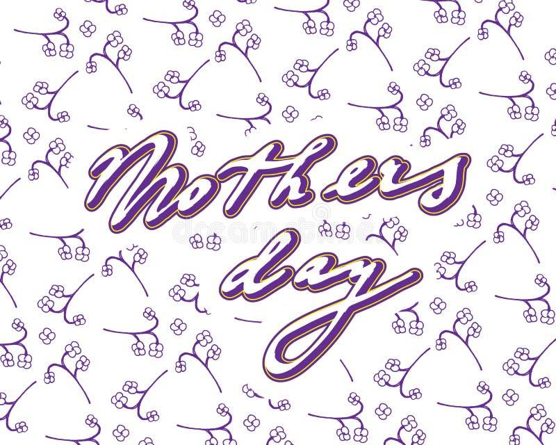 De kaart van de krabbelgroet op moeder` s dag, met bloemen en handwritt stock illustratie