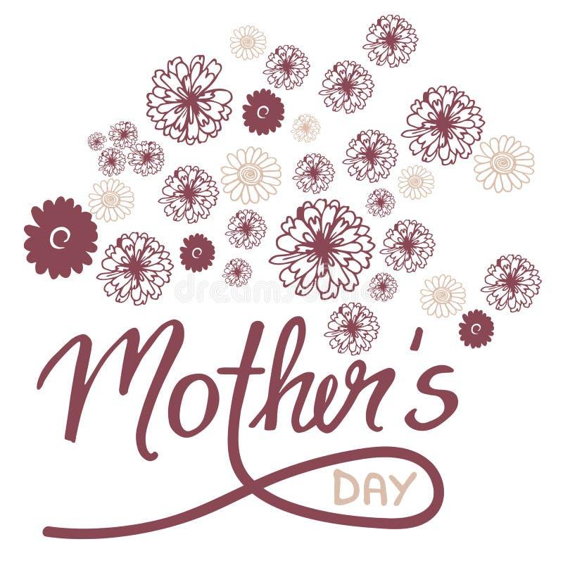 De kaart van de krabbelgroet voor Moeder` s Dag met bloemen en hand-bevelschrift vector illustratie