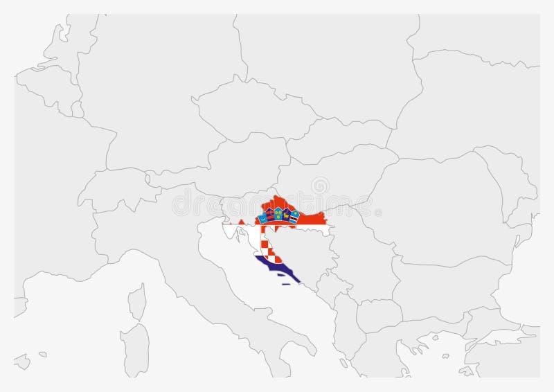 De kaart van Kroatië die in de vlagkleuren van Kroatië wordt benadrukt royalty-vrije illustratie