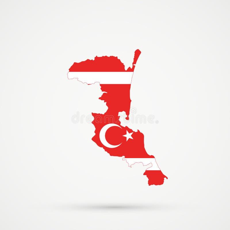 De kaart van Kumykiadagestan in Meskhetian-de Turken van Turkenahiska markeert kleuren, editable vector stock illustratie