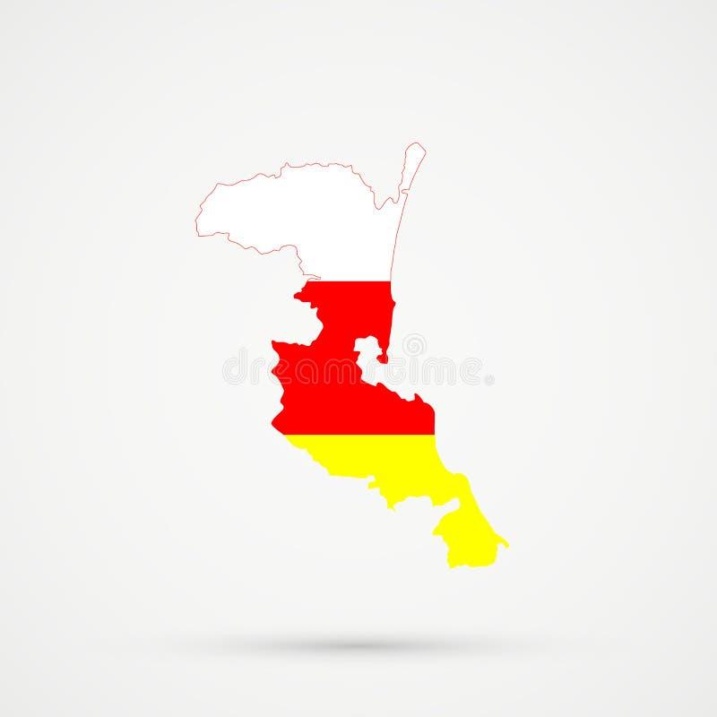 De kaart van Kumykiadagestan in Ossetia-vlagkleuren, editable vector vector illustratie