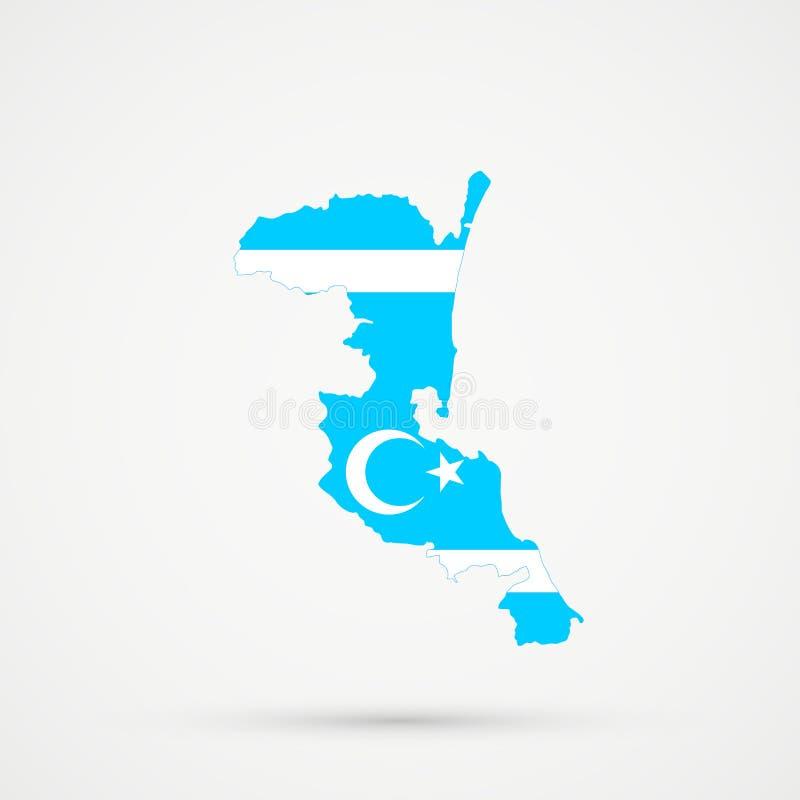 De kaart van Kumykiadagestan in Turkmeneli-vlagkleuren, editable vector stock illustratie